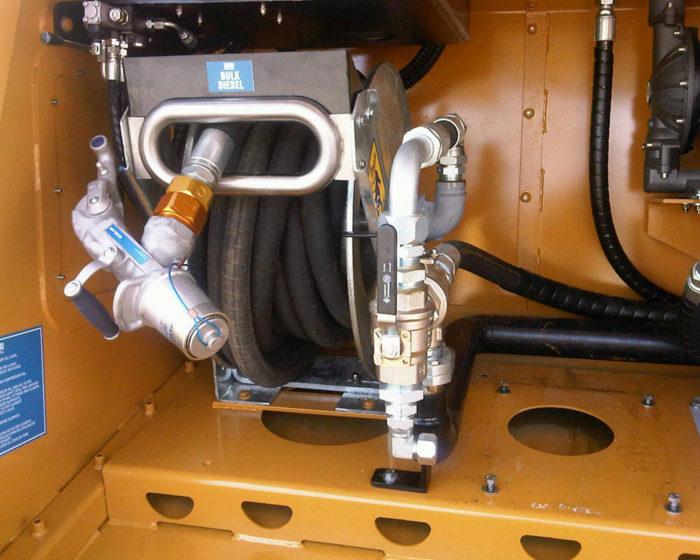 """Mining Hose Reels - Pit Bull 1-1/2""""ID air rewind hose reel high flow diesel refuelling."""
