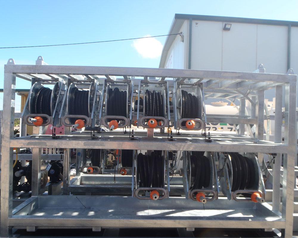 Mining Hose Reels Pit Bull air rewind hose reel service rack.