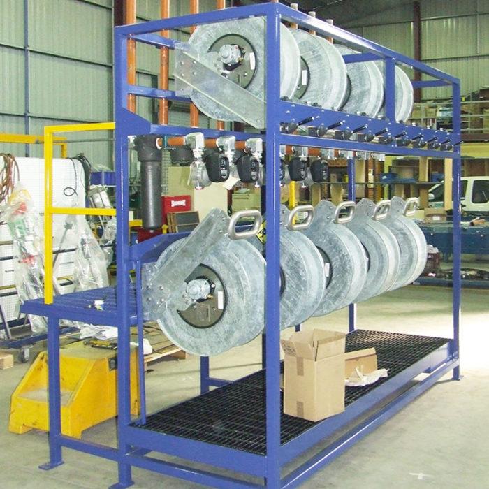 Mining Hose Reels - Pit Bull air rewind hose reel service rack.